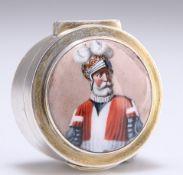 A GEORGE V SILVER-GILT AND ENAMEL CIRCULAR BOX