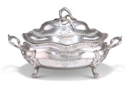 A LARGE GEORGE III SILVER SOUP TUREEN