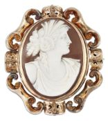 A VICTORIAN SHELL CAMEO AND HAIRWORK BROOCH