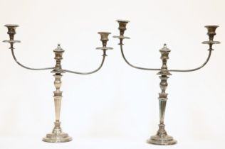 A PAIR OF OLD SHEFFIELD PLATE CANDELABRA
