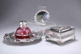 A GEORGE V SMALL SILVER WAITER, ETC.