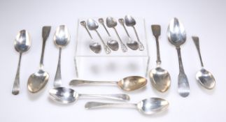 A GROUP OF GEORGIAN AND LATER SPOONS