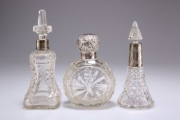 A VICTORIAN SILVER-TOPPED CUT-GLASS SCENT BOTTLE