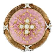 AN ENAMEL AND SEED PEARL BROOCH
