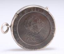 AN UNUSUAL SILVER-MOUNTED GEORGE III CARTWHEEL PENNY VESTA CASE