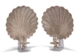 A PAIR OF 18TH CENTURY STYLE SILVER-PLATED SHELL-FORM WALL SCONCES