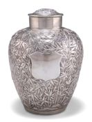 A 19TH CENTURY CHINESE SILVER JAR AND COVER