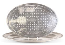 A SUBSTANTIAL GEORGE III SILVER MEAT DISH AND MAZARINE