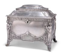 A GERMAN NEO-CLASSICAL REVIVAL SILVER-PLATED CASKET