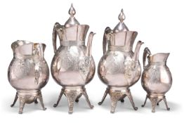 AN AMERICAN SILVER-PLATED FOUR-PIECE TEA AND COFFEE SERVICE