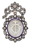 AN EARLY TO MID 19TH CENTURY DIAMOND AND ROCK CRYSTAL MONOGRAM BROOCH