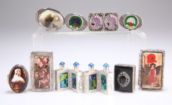 A SET OF CHINESE WHITE-METAL AND ENAMEL HINGED SCENT FLASKS