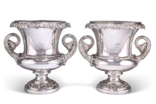 A MATCHED PAIR OF OLD SHEFFIELD PLATE WINE COOLERS
