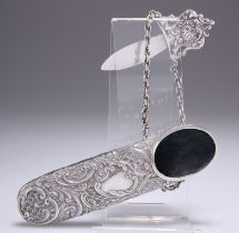 A LATE VICTORIAN SILVER CHATELAINE SPECTACLES CASE