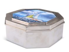 AN AMERICAN STERLING SILVER AND ENAMEL BOX