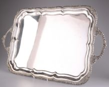 A LARGE 19TH CENTURY SILVER-PLATED SALVER