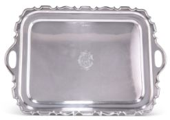 A GEORGE V LARGE SILVER TWO-HANDLED TRAY