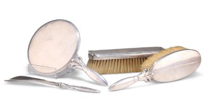A DANISH STERLING SILVER DRESSING TABLE SET,