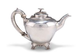 AN EARLY VICTORIAN SILVER BACHELOR'S TEAPOT