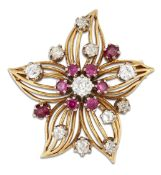 A RUBY AND DIAMOND FLOWER BROOCH, CIRCA 1950S
