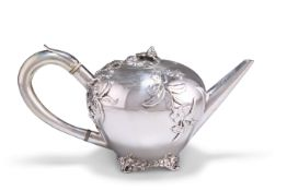 A GEORGE IV CHINOISERIE SILVER TEAPOT