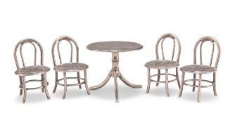 A CHINESE SILVER MINIATURE TABLE AND FOUR CHAIRS
