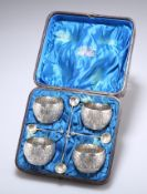 A SET OF FOUR VICTORIAN SCOTTISH SILVER SALTS