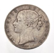 A VICTORIA YOUNG HEAD CROWN 1844, obv. fine; rev. good/fine; toned