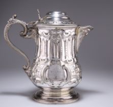 A LARGE 19TH CENTURY SILVER-PLATED FLAGON
