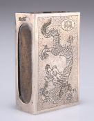 A CHINESE SILVER MATCHBOX SLEEVE