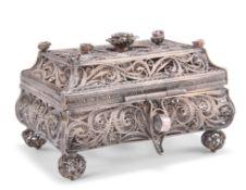 A 19TH CENTURY RUSSIAN SILVER FILIGREE CASKET