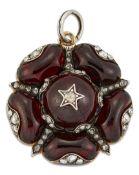 A 19TH CENTURY CARBUNCLE GARNET AND DIAMOND PENDANT