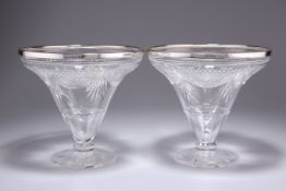 A PAIR OF EDWARDIAN SILVER-RIMMED CUT-GLASS VASES