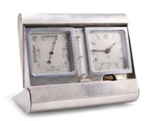AN EDWARD VIII SILVER-CASED CLOCK AND BAROMETER