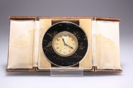 A GEORGE V SILVER AND ENAMEL CHINOISERIE STRUT CLOCK
