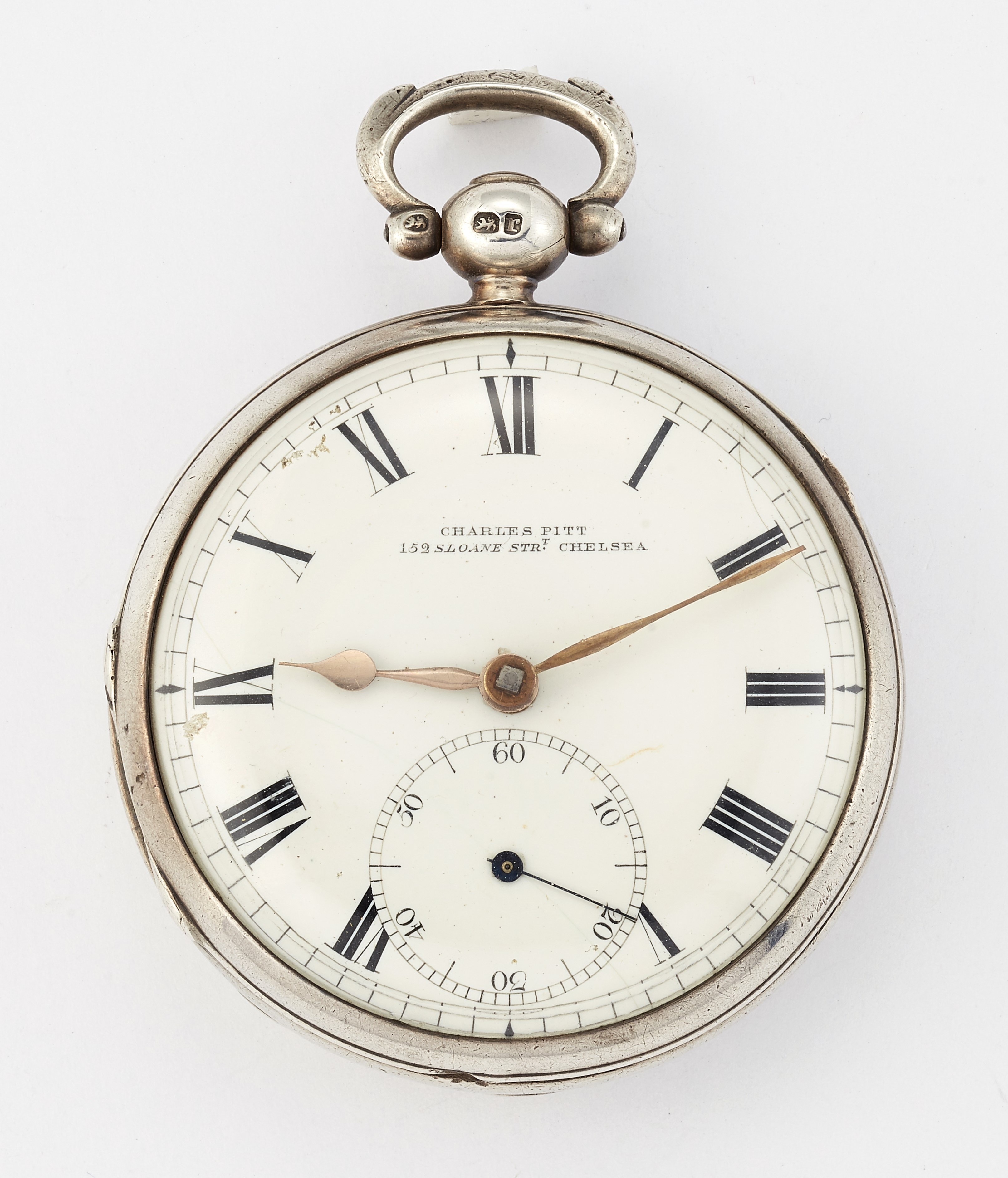 A SILVER POCKET WATCH BY CHARLES PITT