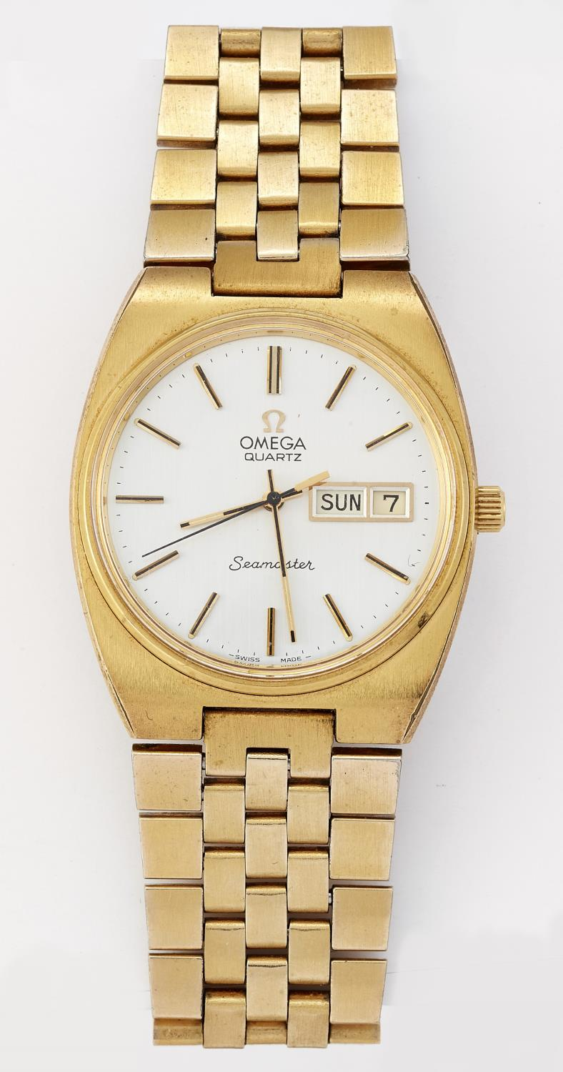 A GENTS GOLD PLATED OMEGA SEAMASTER QUARTZ WATCH - Image 2 of 2