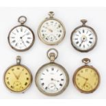 A GROUP OF SIX ASSORTED POCKET WATCHES