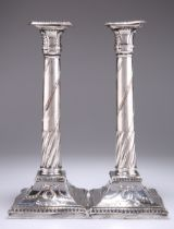 A PAIR OF OLD SHEFFIELD PLATE CANDLESTICKS