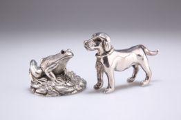 AN ELIZABETH II SILVER MODEL OF A FROG, AND A DOG
