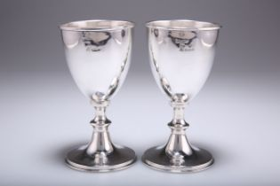 A PAIR OF ELIZABETH II SILVER IMPORT GOBLETS