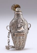 A 19TH CENTURY SILVER-PLATED 'WATERLOO' SCENT FLASK