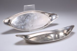 TWO OLD SHEFFIELD PLATE SNUFFER TRAYS, CIRCA 1800