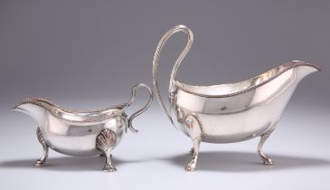 TWO OLD SHEFFIELD PLATE SAUCEBOATS