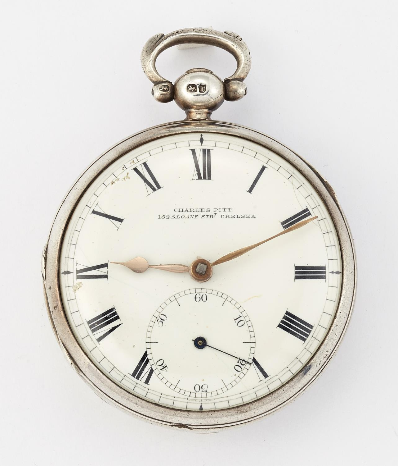 A SILVER POCKET WATCH BY CHARLES PITT - Image 2 of 6