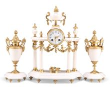 A FRENCH GILT-METAL MOUNTED WHITE MARBLE CLOCK GARNITURE