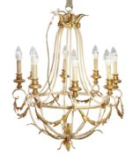 A CONTINENTAL PAINTED AND GILDED METAL CHANDELIER