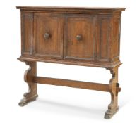 A CONTINENTAL INLAID WALNUT CABINET ON STAND