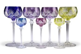 FOUR VAL ST LAMBERT BERNCASTLE CUT FLASHED HOCK GLASSES, AND THREE OTHERS