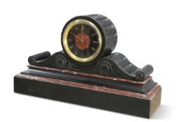 A LARGE VICTORIAN MARBLE AND SLATE MANTEL CLOCK